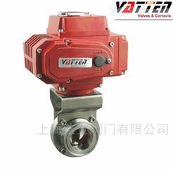 D981-VT1AEC33ASS304卫生级蝶阀山东医药生产用电动蝴蝶阀