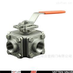 Q16F不锈钢四通螺纹球阀山东四通L型换向阀