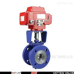 VQ941F电动V型衬氟球阀 化工厂用电动法兰球阀