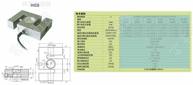 拉力传感器技术指标: 量程:20~5000t 输入阻抗:380±10Ω 灵敏度:2.0 mv/ v 输出阻抗:350±3Ω 非线性 /滞后/重复性:± 0.02%F.S 绝缘电阻:≥ 5000 MΩ 蠕变:± 0.02%F.S 供桥电压:10(DC/AC)V 零点输出:± 1.00%F.