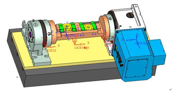 图(2) 配置的四轴智能工作台及液压夹具示意图